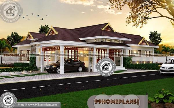 House Plans For Corner Lots with Single Story Traditional Home Designs