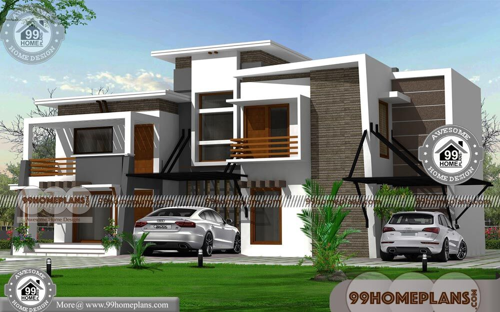 Indian contemporary house designs with double story modern for House plan with photos