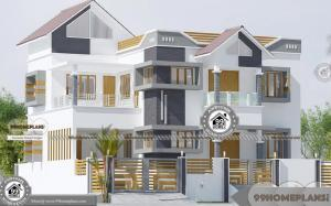 Modern House Designs Indian Style Double Floor Fusion Pattern Plans