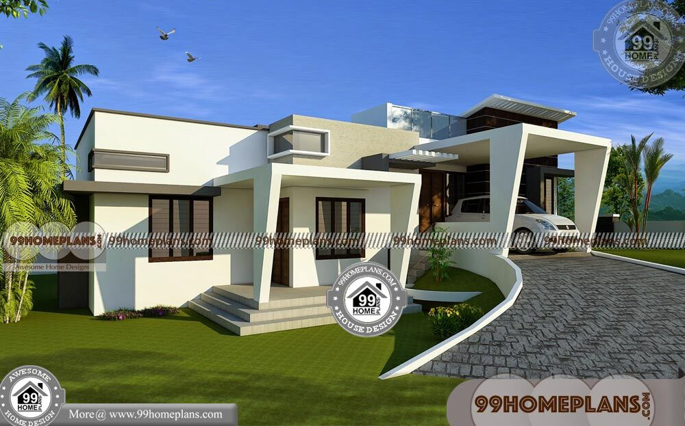 Single Story Flat Roof House Plans: One Story Contemporary Homes & Flat Roof Modern House