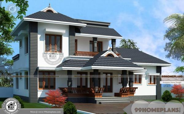Traditional 2 story house plans with kerala style superb for Traditional 2 story house