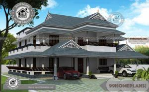 Traditional Two Story House Plans with Illam Style Nalukettu Home Design