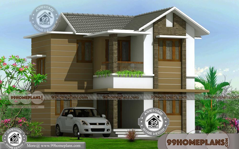 Two Floor Home Design With Sloped Roof Cute Architects