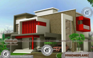 Two Floor House Plans with Simple Flat Roof Contemporary Model Homes