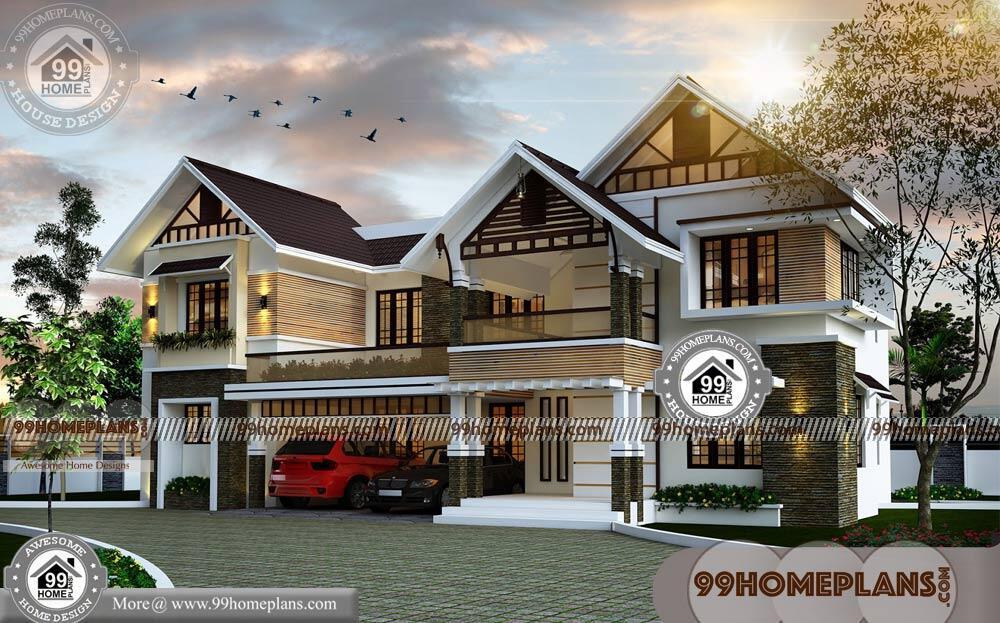 Kerala Style Low Cost Double Storied Home: Two Story House Plans Indian Style With Traditional Models