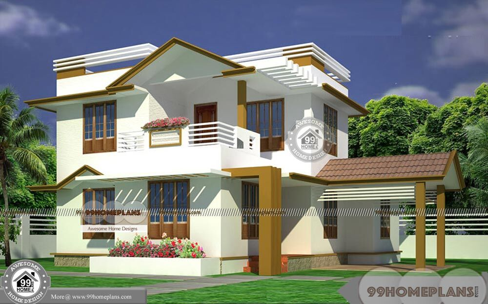 Veedu design kerala 2015 with double floor simple cute for Kerala veedu design