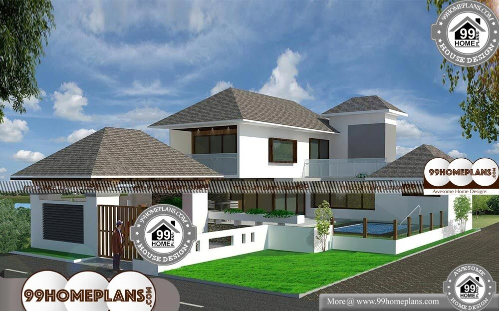 Double Storey Bungalow Elevation : Residential bungalow elevation with double story