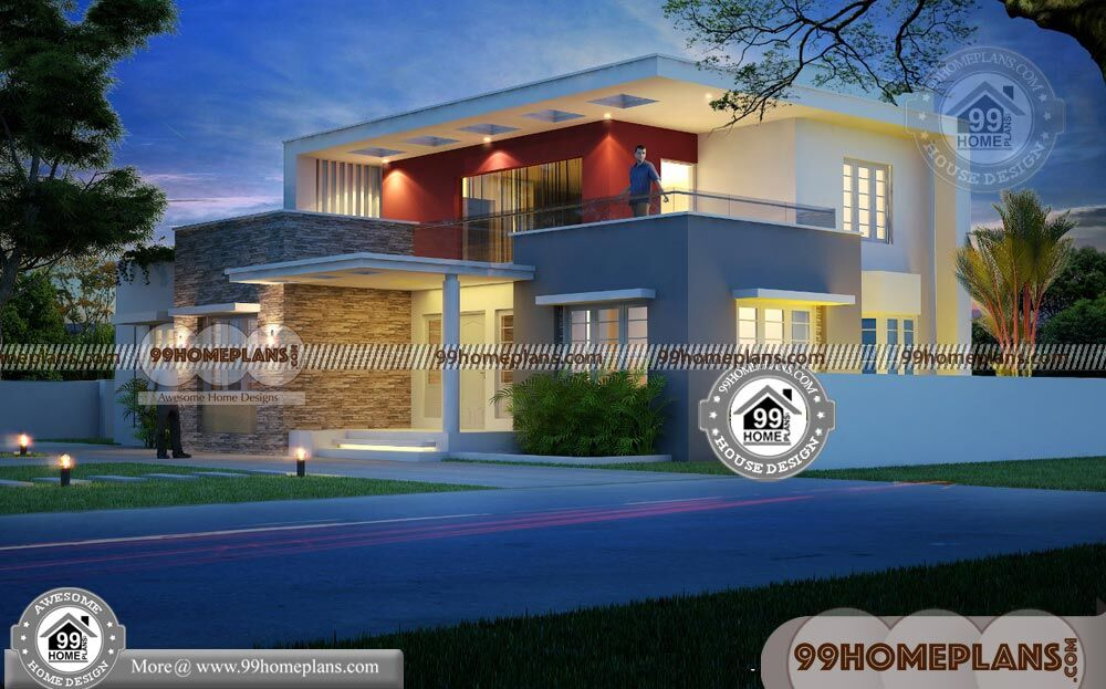 Box model house design 2 story home plan elevation new for 2 story box house plans