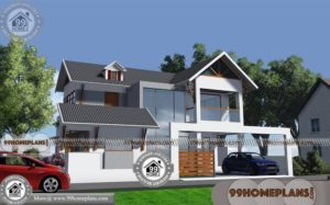 Modern Indian House Front Elevation Designs with Double Story Bungalow