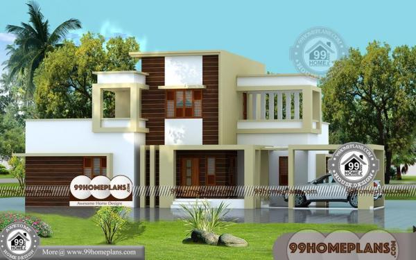 Simple Box Type House Double Storied Flat Patterned Low