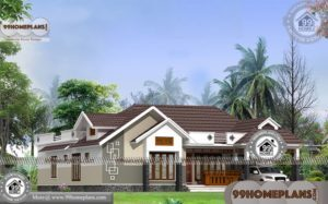 1 Floor Home Plans with Traditional Patterned House Exterior Collections