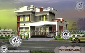 2 Storey 3 Bedroom House Plans with Flat Roof Simple Modern Homes