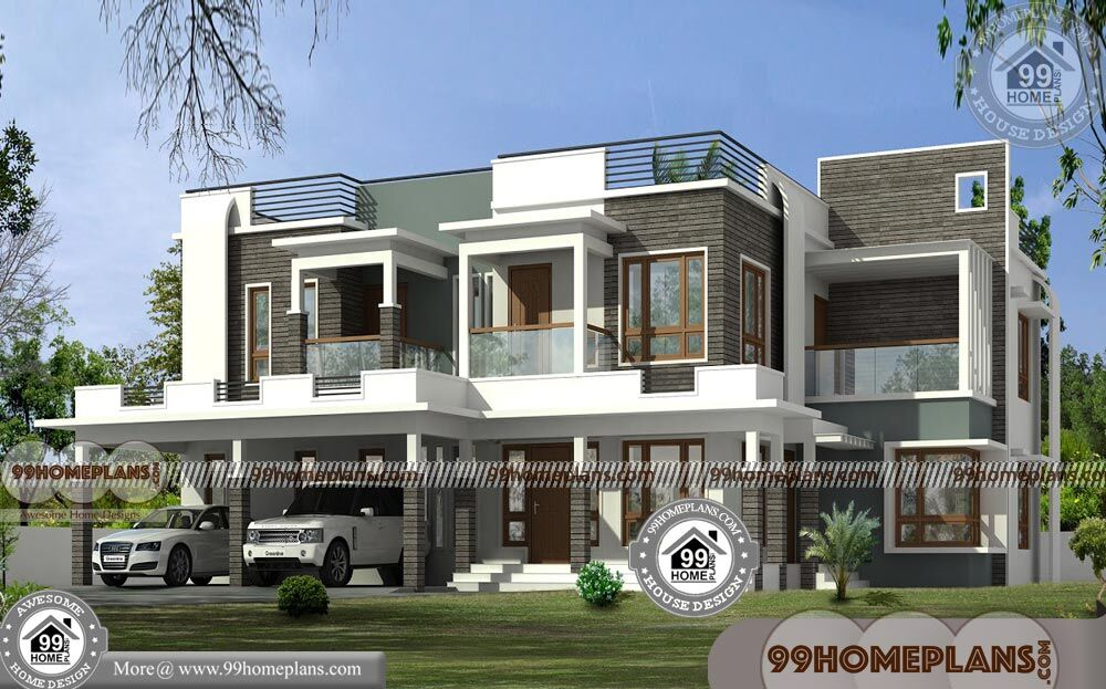 2 Storey Design With Flat Roof Contemporary Architectural