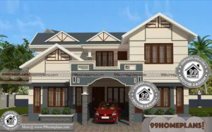 2 Story Contemporary House Plans with 3D Elevations | Cheap Rate Plans