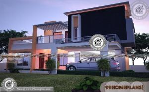 2 Story Rectangular House Plans with 3D Elevations | 700+ Modern Plans