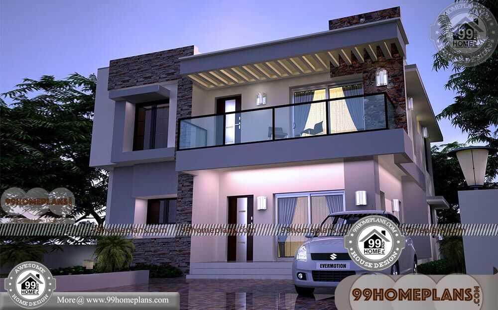 24x24 house plans with 3d elevations narrow lot box for Award winning narrow lot house plans