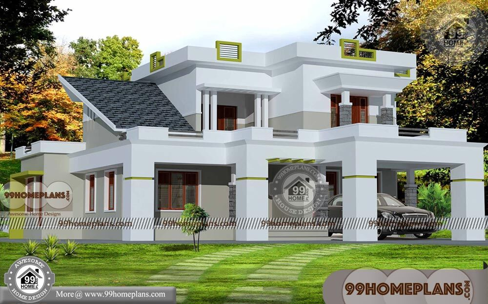 2500 sq ft house plans kerala low economy two floor for Modern house plans under 2500 square feet