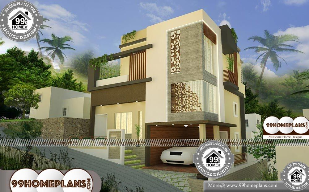 3 Floor House Elevation Designs - 3 Story 1350 sqft-Home