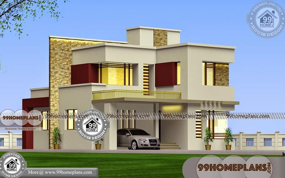 3 Bedroom House Plans 2 Story With Ordinary Flat Roof Type