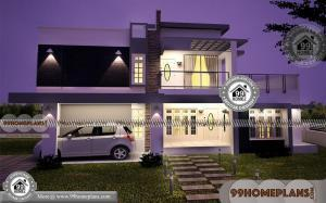 3 Bedroom Rectangular House Plans Double Floor with 3d Elevations