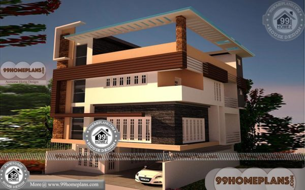3 Storey House Plans with Flat / Apartment Style Home Design Collection