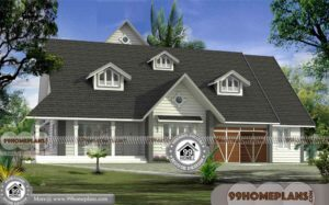 4 Bedroom Bungalow Plan with European Style Gabbled Roof Homes