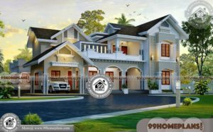 4 Bedroom Home Designs | 2 Story House Plans with Exteriors & Interiors