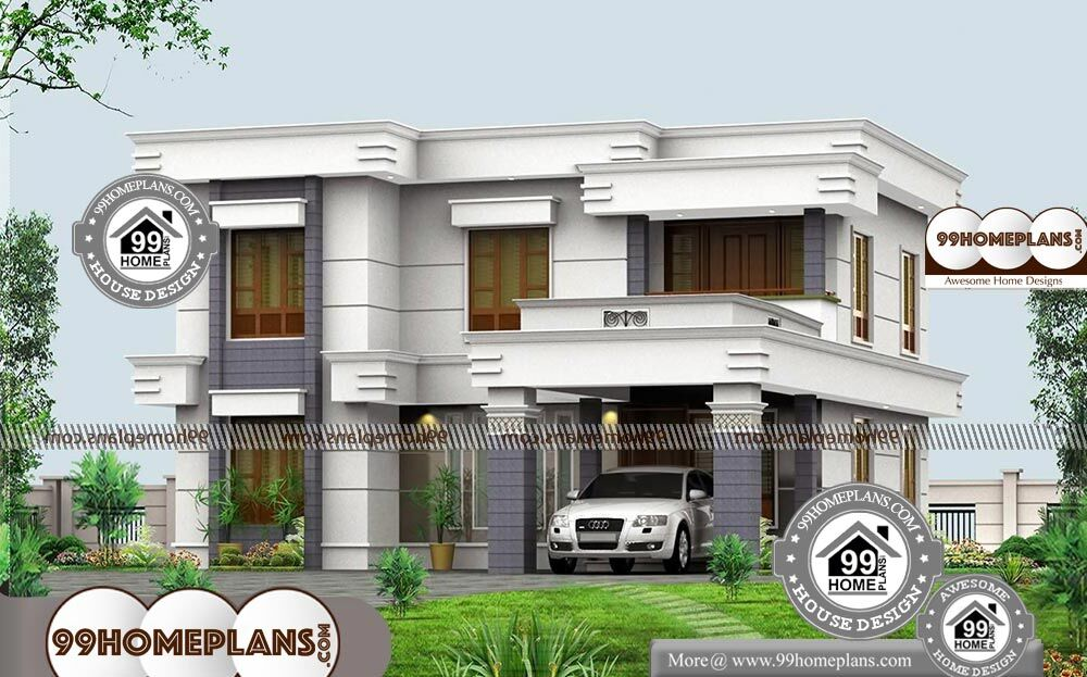Bungalow 4 bedrooms floor plan with two storey modern home for 2500 sqft 2 story house plans
