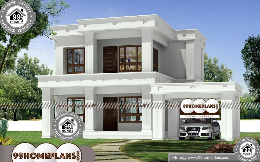 Flat Roof House Plans Design - 2 Story 1494 sqft-Home