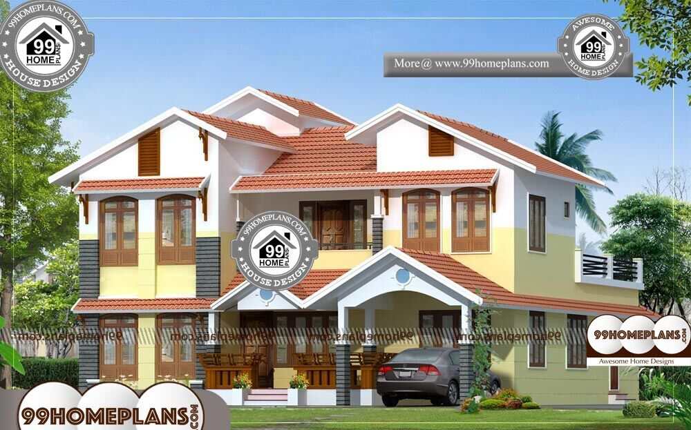 Indian House Front Elevation Designs Photos - 2 Story 2770 sqft-Home