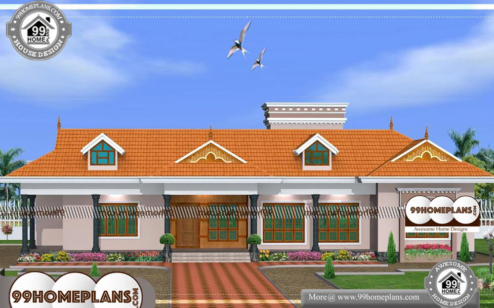 Kerala Style Single Floor House Plans And Elevations - Single Story 2800 sqft-Home