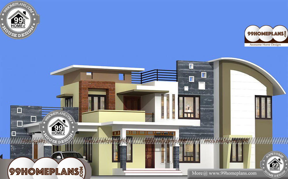 Low Cost 4 Bedroom House Plans with Two Story Modern Flat ...