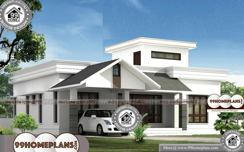 Single story modern house designs with 3d elevations 750 for 1500 sq ft modern house