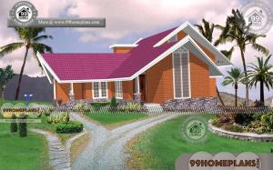 Brick Cottage House Plans with 3D Elevations | Low Cost Modern Designs