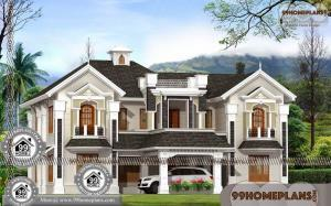 Exterior Home Design with Traditional / European House Elevation Plans