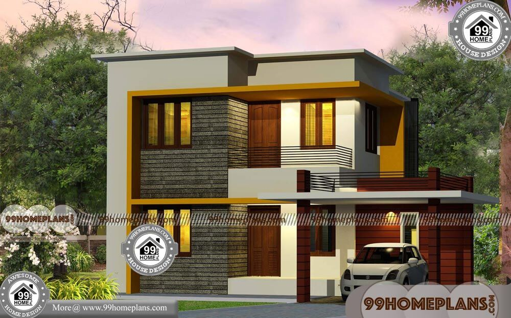 Front house design india with two story box type simple for 2 story box house plans
