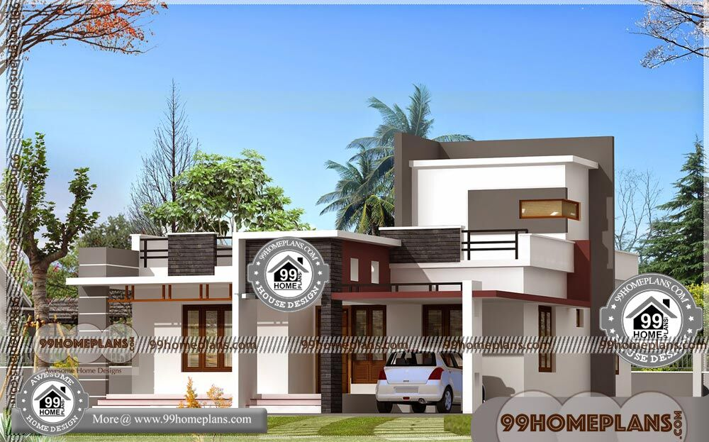Home Decoration Design Single Storey Flat Roof Modern House Plans