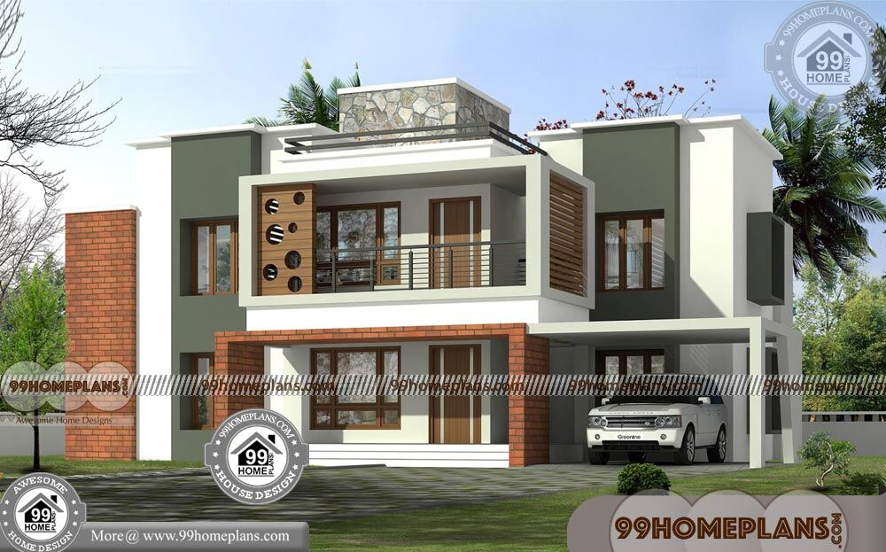 House Design 2 Storey Flat Roof Contemporary Style 600