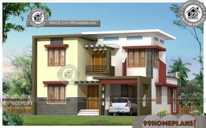 Indian Home | Two Story Box Type Flat Roof House Design Free Collection