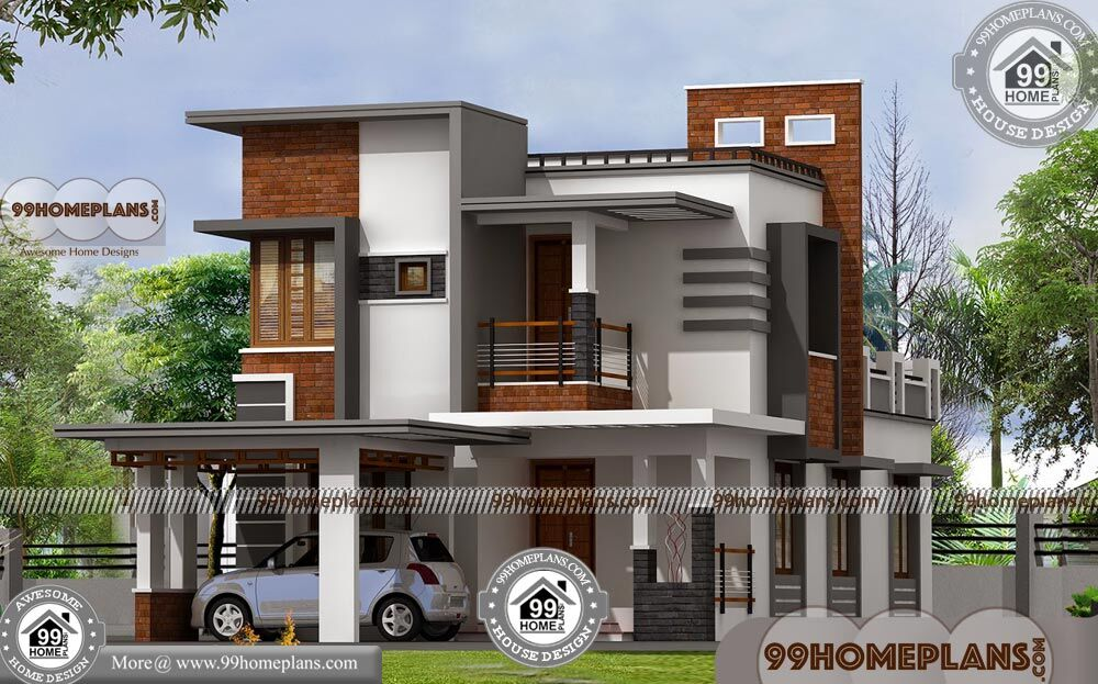 Indian house front elevation designs two story duplex for P o p indian home designs