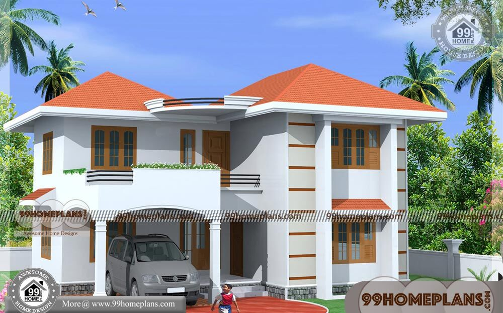 Indian small house designs photos with small double storey for 1800 sq ft indian house plans