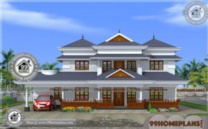 Kerala Luxury Home Designs | Traditional Two Story House Floor Plans