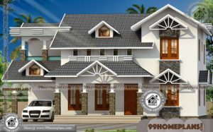 Kerala Traditional House Plans with Courtyard with Double Story Designs