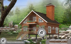 Log House Plans | One Story Wooden Home Styles with 3D Elevations