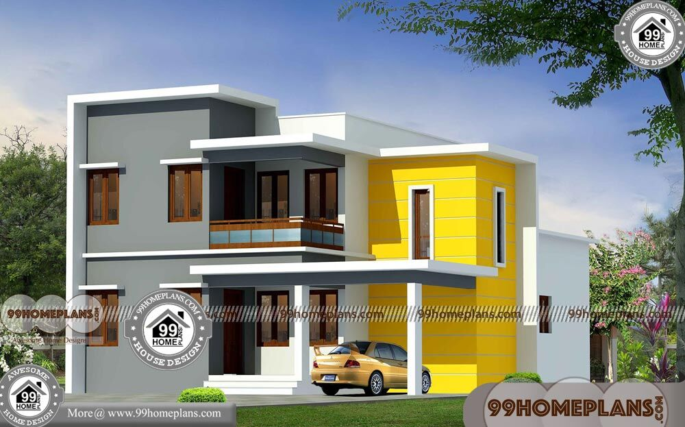 Low cost veedu plans with double floored flat roof modern collections - Modern homes attic low cost ...