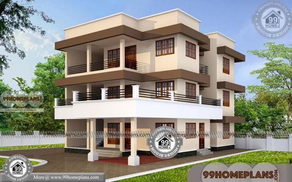 Modern 3 story house plans with 3d elevations new for 3 story apartment building plans