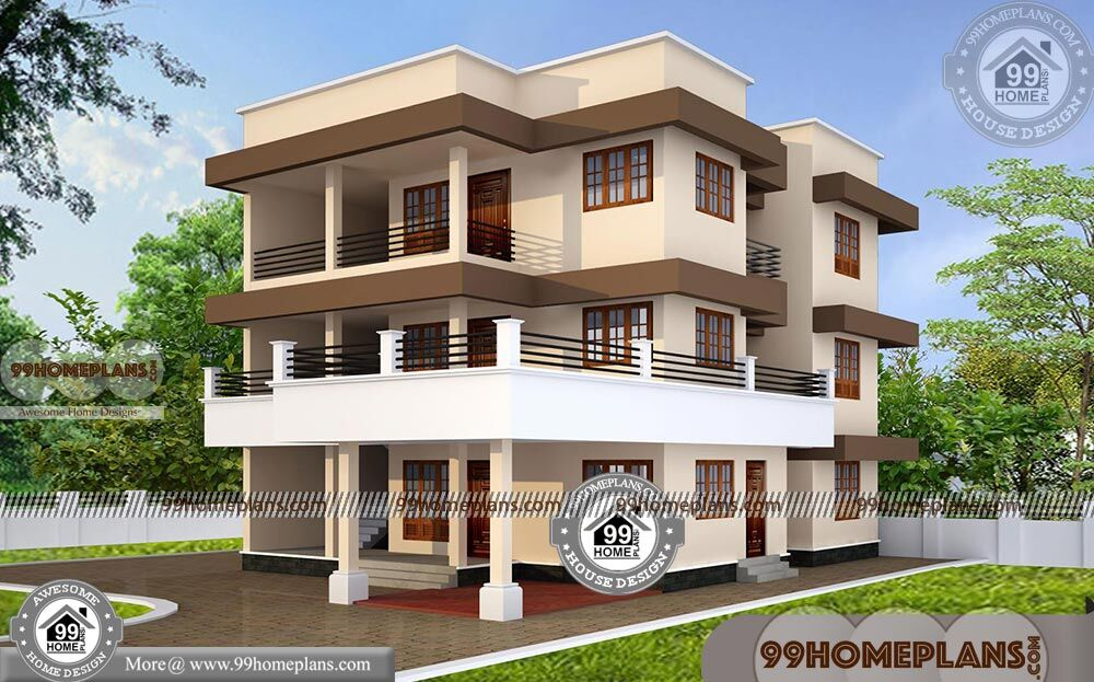 Modern 3 Story House Plans with 3D Elevations | New ...