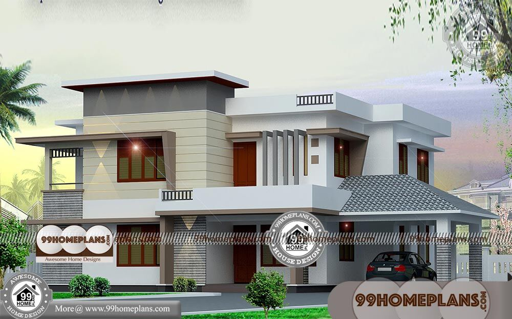 Modern box type house designs with two story simple for Home plans com