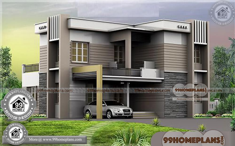 Modern home plans with photos double story flat roof for Plan collection modern house plans