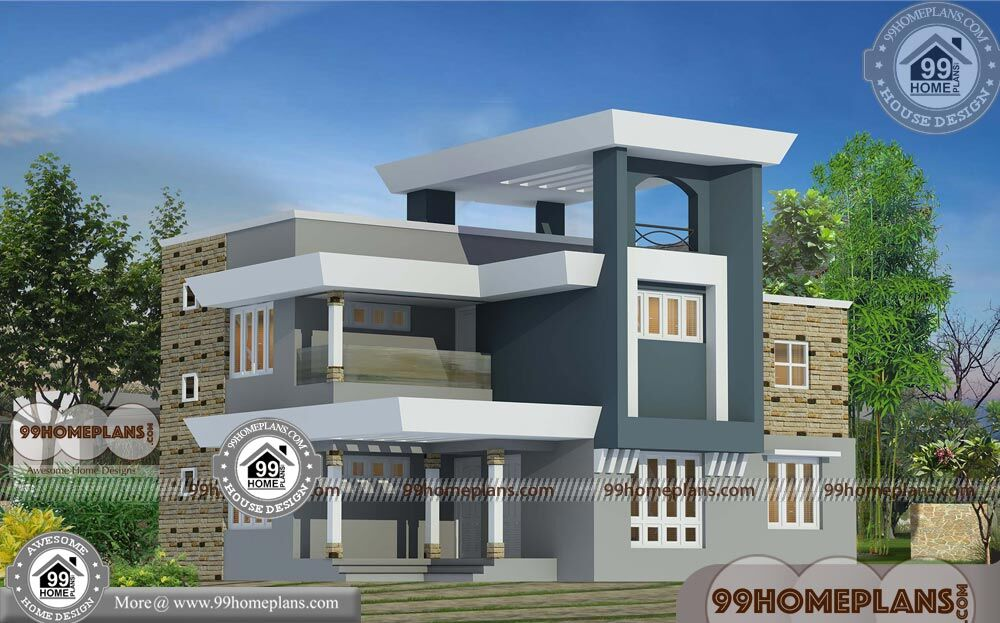 Modern indian home design front view with double story new for Modern home front view design